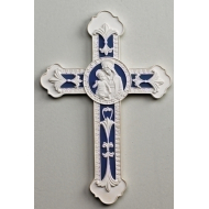 "9"" DELLA ROBBIA WALL CROSS W/MADONNA & CHILD CENTER"
