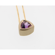 Amethyst Yellow Gold Bezel Necklace, Trillion