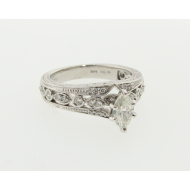 0.47ct Marquise Engagement Ring, White Gold, Vintagey