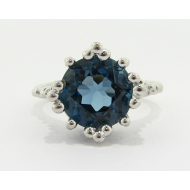 Princess Ring in London Blue Topaz, Sterling Silver