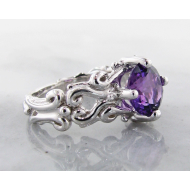Amethyst Silver Ring, Very Victorian