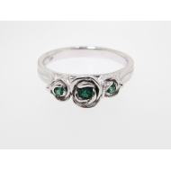 Three Roses Ring, Sterling Silver & Lab Emerald