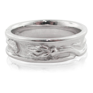 Rosebud Band with Raised Edge, White Silver