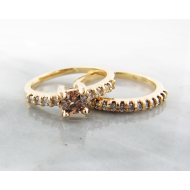 Cognac Diamond Wedding Set, 18k Yellow Gold, Wexford Standard