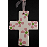 "hot pink daisy on white cross (sml; 3-3/4"")"