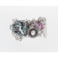 Lace Multi Gem Ring Aqua/Morg/Sapph/Dia, 14k White Gold