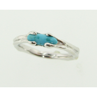 Turquoise Band, White Gold, Skinny Melted