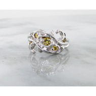 Yellow Diamond White Gold Ring, Swirl