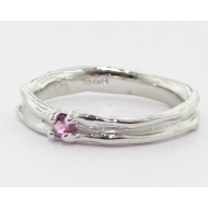 Pink Tourmaline Silver Band, Skinny Melted