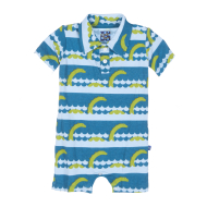 Kickee Pants  Polo Romper  Sea Monster