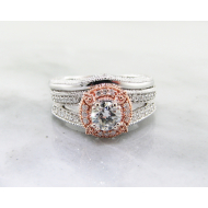 Two-Tone White Rose Gold Diamond Wedding Ring Set
