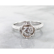 Diamond White Gold Ring, Stacking Solitaire Rose