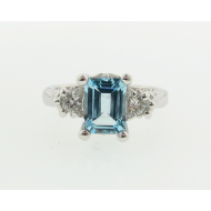 Old Paris Ring: Sky Blue Topaz & Moissanite