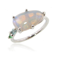 Opal Sterling Silver Ring, Stained Glass, Skinny Band