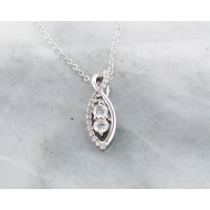 Diamond Two Stone White Gold Necklace