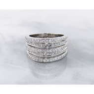 Diamond White Gold Stacked Band Ring