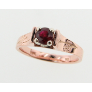 Pine Bough Ring with Ruby, Rose Gold