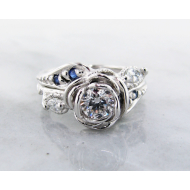 Lab Diamond Sapphire Platinum Wedding Set, Tea Rose Ring