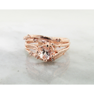 Morganite Rose Gold Wedding Set, Cherry Blossom & Branch