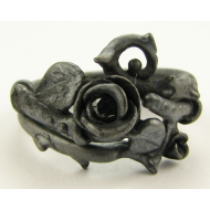 Black Diamond, Black Silver Wedding Set, Thorned Rose