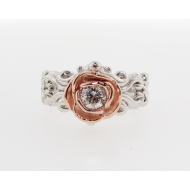 Gold Rose Ring, Pink and White, Victorian