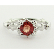 Motif Ring, White Gold & Orange Sapphire