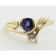 Printemps Leaf and Bud, Purple Sapphire & 14K Gold