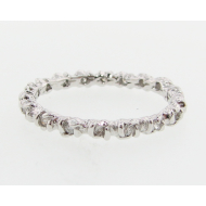 Rosebud & Leaf Band, White Gold & Diamond