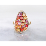 Multi-Gem Yellow Gold Ring, Gem Encrusted Autumn