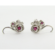Rosebud & Vine Earrings, Silver & Ruby