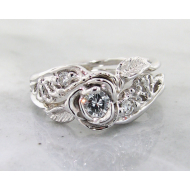 Diamond White Gold Wedding Set, Lacy Tea Rose