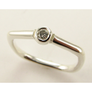 Almost Square, a Promise Ring, Sterling Silver & Diamond