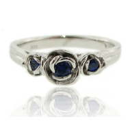Sapphire Sterling Silver Ring, Three Roses