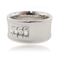 Diamond Baguette Silver Ring, The Curve