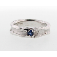 Blue Sapphire Silver Band, Medium Melted