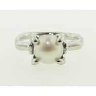 Quadrilateral Pearl Ring with Cornered Band, Sterling Silver