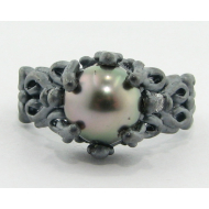 Black Pearl Silver Ring, Victorian