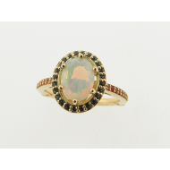 Fiery Opal and Topaz Ring, 18K Yellow Gold