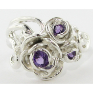 Silver, Amethyst, Rose Ring Bouquet