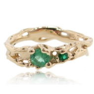 Pierced and Melted Yellow Gold Band with Emerald