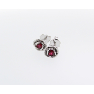 Silver & Ruby Rose Earrings, Petite
