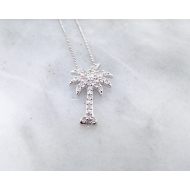 Diamond White Gold Palm Tree Necklace
