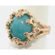 Amazonite Rose Gold Ring, Oval Duchess