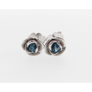 Petite Rose Earrings, London Blue Topaz & Sterling Silver