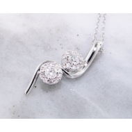 Diamond Halo Two Stone, White Gold Necklace