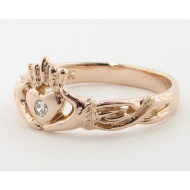 Diamond Claddagh Ring, Rose Gold