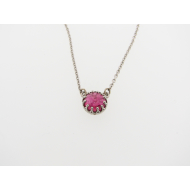 Tourmaline Cabochon Princess Necklace, Sterling Silver