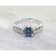 Blue Diamond White Gold Ring, Sculptural