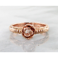 Diamond Rose Gold Ring, Edwardian, Solitaire, Rose