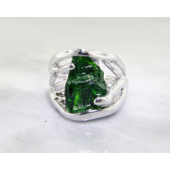 Raw Gemstone Silver Ring, Chrome Diopside, Openwork Arches